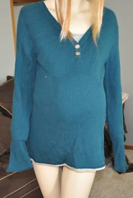 NWT $48-Oh Baby by Motherhood Maternity Green Long Sleeve V-Neck Sweater- L & XL