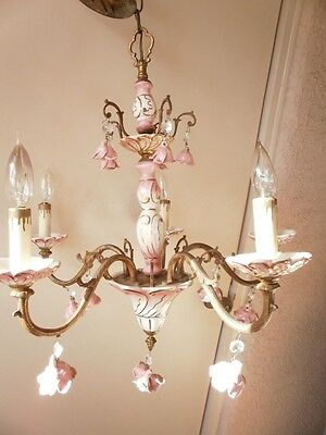 Vintage 5-Arm Pink Rose Crystal Porcelain Ceiling Chandelier Light Fixture 1970s