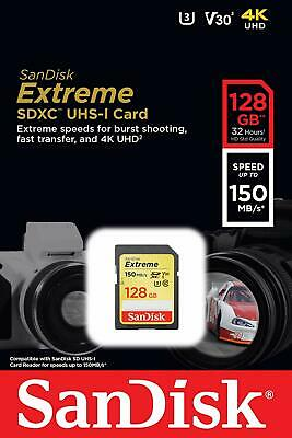 SanDisk Extreme 128GB SDXC 90 MB/S 600x UHS-1 SD Class 10 Memory Card U3 128G 4K