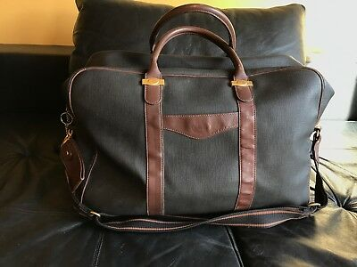 """Authentic Dunhill Logos Travel Hand Bag PVC Leather Brown Italy Vintage 18""""x13"""""""