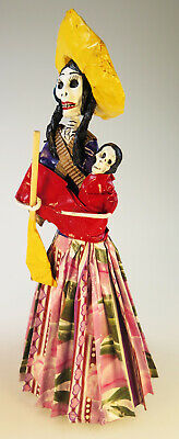 Mexican Day of the Dead Dolls, Catrina Yellow ruffle, hat, handmade, paper mache
