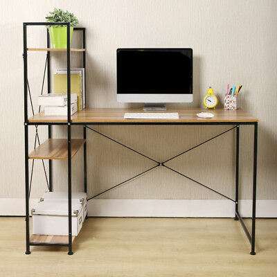 Home Office Desk Computer Table Laptop Writing Study Workstation Shelf Bookcase