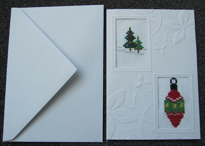 CROSS-stitch CARD decoration CHRISTMAS trees HAND-made CRAFT hobby FAMILY art