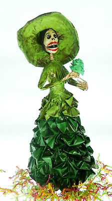 Mexican Day of the Dead Dolls, Catrina Green ruffles, hat, handmade, paper mache