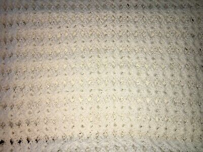 "Christening  Baby Blanket White Crochet 42"" X 32"" Soft"