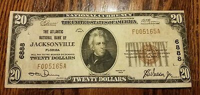$20 1929 Jacksonville Florida FL National Currency Bank Note Bill  Ch. #6888 VF!