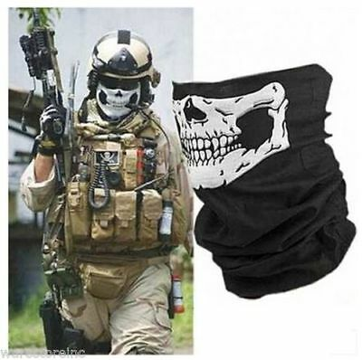 Skull  Scarf Snood Neck Warmer Mask Bandana Motorcycle Half Face Bike Tube Biker