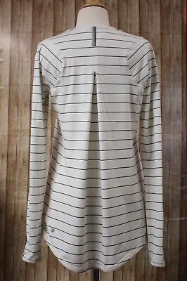 Lululemon Athletica Tuck & Flow Striped Top Long Sleeve Women's Size 10 Ivory