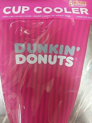 2017 Dunkin' Donuts Large Cup Koozie / Cup Cooler (32oz) Pink, Iced Coffee/Tea