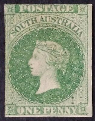 Rare 1860- South Australia 1d Dull Blue Grn 1st Sideface Stamp Roulette Perf MNG