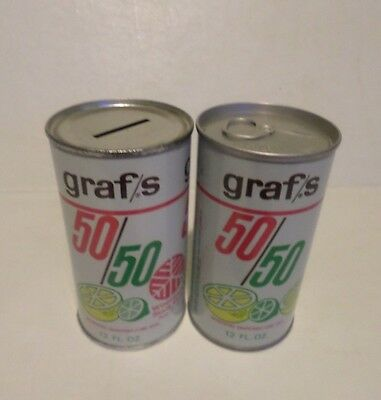 Lot of 2 Rare Ad Bank & Air Sealed Graf's 50/50 Lemon Lime Steel Soda Pop Cans