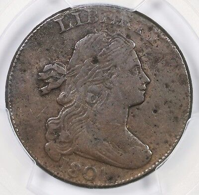 1801 S-219 R-2 PCGS VF Details 3 Errors Draped Bust Large Cent Coin 1c
