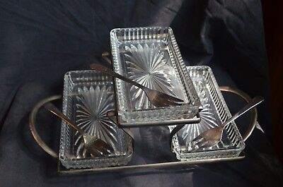 Vintage Antique Sheffield Silver Plated Serving Tray and Utensils