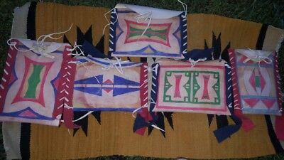 Vintage Native American Nez Perce Painted Elk Rawhide Parfleche Cases - Lot of 5