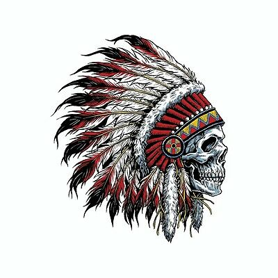 Indian Chief Skull Vinyl Car Decal Sticker