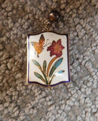 Vintage Cloisonne Brass Enamel Flower and butterflyPuffy square Pendant Necklace