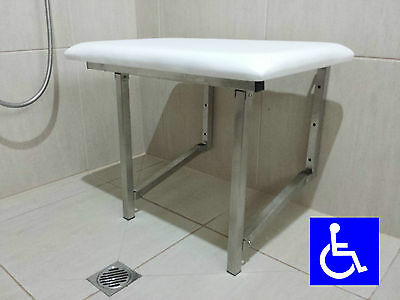 SHOWER CHAIR SEAT FOLD UP DISABLED AID STAINLESS STEEL PADDED for WHEELCHAIR