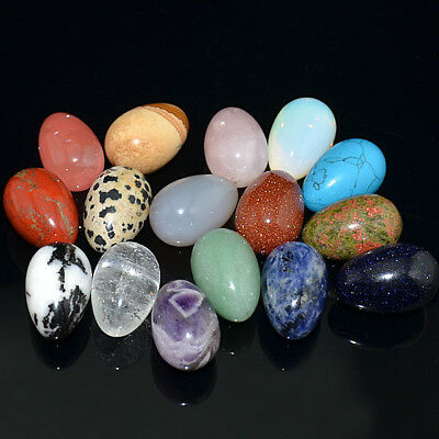 Natural Gemstone Egg Crystal Healing Sphere Massage Rock 20x30mm Finger
