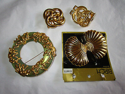 Vintage Look 1 x QUIRKY  HUGE BROOCH &   2  X  sets GOLDTONE BELT BUCKLES 1960s