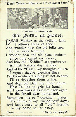 """Postcard - Soldier's Verse-Letter to the Old Folks at Home - """"Home Again Soon"""""""