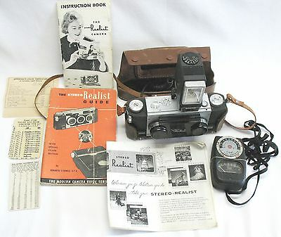 STEREO REALIST 3-D CAMERA 35mm f3.5 w Light Meter, Flash, Case, Instruction book