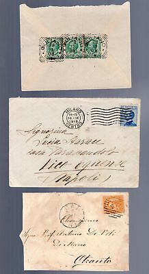 Italy 3 old covers including squared circle cancels see scans x2