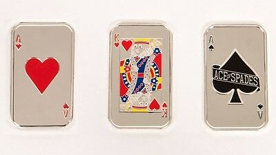 3 Oz 999 Pure Silver Bars Texas Hold'em Poker Collectible