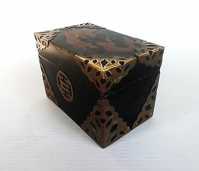 Vintage Black Lacquer and Brass Trinket Box Dragon Motif On Lid