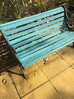 Vintage Cast iron GARDEN BENCH TIMBER SLAT FRENCH
