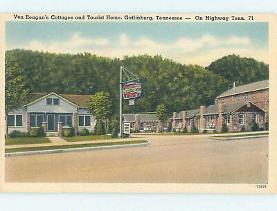 Unused Linen VON REAGANS MOTEL Gatlinburg Tennessee TN M5726