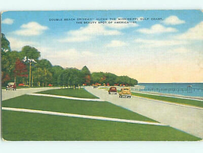 Linen OLD CARS ALONG GULF COAST Postmarked In Gulfport Mississippi MS M7929