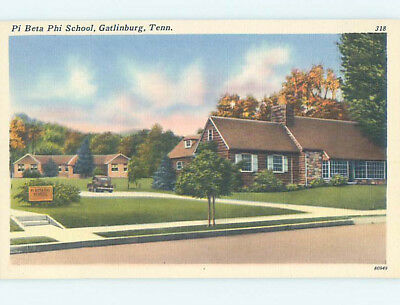 Unused Linen SCHOOL BUILDING Gatlinburg Tennessee TN J8223