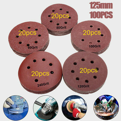 "100pc 5"" 125mm 60 80 100 120 240 Grit Hook Loop Mixed Sanding Disc Sandpaper New"