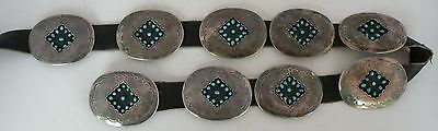 Old Navajo Sterling petit point cluster Turquoise shadow box concho belt HUGE