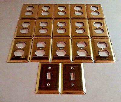15 Vintage Brass Outlet Covers Plates & 2 Switch Plates
