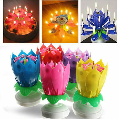Lotus Flower Music Candles Rotating Lights Birthday Cake Topper Gift