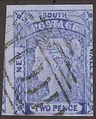 NEW SOUTH WALES 1851: 2d blue Laureate on blue paper (SG 52), used