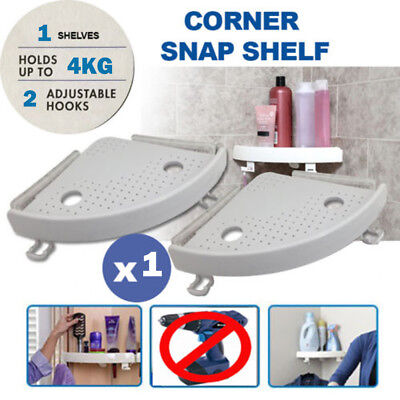 1 x Quick Fix Corner Easy Shelf Grip Up to 4kg Easy wall Bathroom Snap Shelves