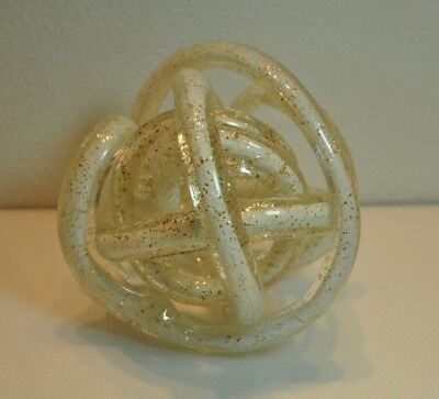 "Hand Blown Mica Flecked Knot Art Glass approx 16"" Around"