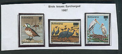 Botswana 1987 Birds surcharged issue MNH
