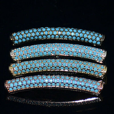 Turquoise Zircon Gemstone Pave Twill Curved Tube Bracelet Connector Charm Beads