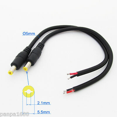 50x 25cm 18AWG Copper DC Power Cable Pigtail 5.5x2.1mm DC Male Plug For CCTV UK