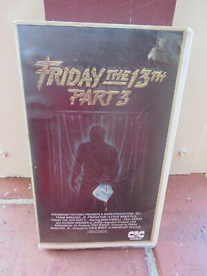 Friday The 13th - Part 3 (1982) vhs movie