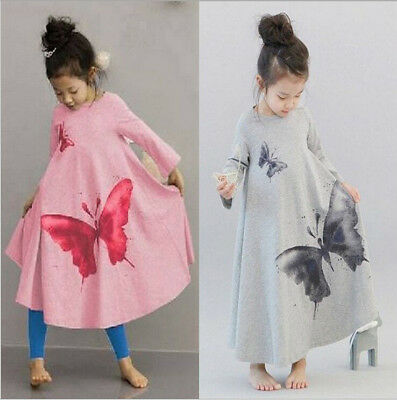 Kids Girls Long Sleeve Printing Butterfly Dance Dress Autumn Outfits Clothes UK