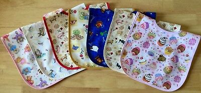 BABY BIBS - COTTON / WATERPROOF BACKING - TWIN PACK.  Approx 4 months - 2 years.