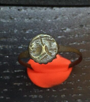 Sl01 Ancient Roman Engraved Ring Bronze /290/