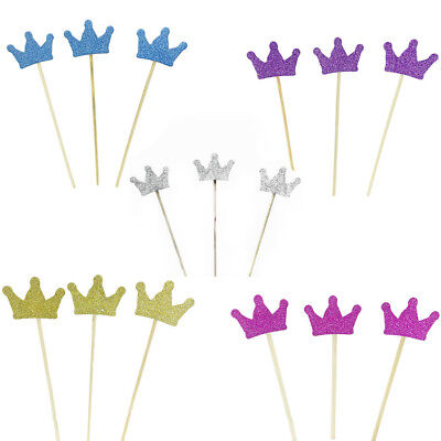 10pcs Crown Cake Toppers Paper Cards Banner for Cupcake Wrapper Baking Cup ca