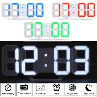 Digital 3D LED Table Wall Clock Snooze Alarm 24/12Hr Display USB/Battery Modern