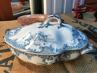 Antique English Victorian c1800's Staffordshire Porcelain Lidded Tureen