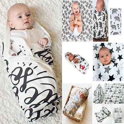US Baby Kids Toddler Newborn Blanket Swaddle Sleeping Bag Stroller Wrap Cotton